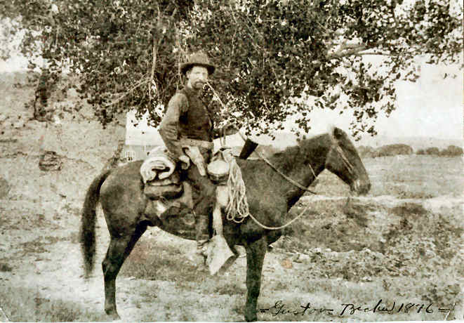 Gustov Becker leaving Belen, New Mexico on his way to Round Valley. He arrived in the valley August 20, 1876, with all his worldly possessions on his horse.